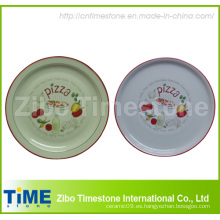 Placa de pizza de porcelana con calcomanía (TM213)