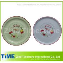 Plaque de pizza en porcelaine avec étiquette (TM213)