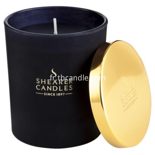luxury soy candles in black ceramic jar with golden lid