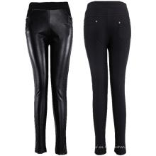 PU Cuero Trimed pantalones con Zipper Decoración