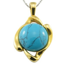 Gold Plated Round Turquoise Turkish Man Pendant