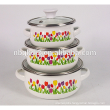 BSCI factory 3 pcs enamel mimi casserole pot set with glass lid high quality