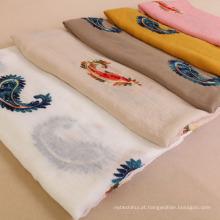 Atacado bordado flor de caju algodão voile mulheres cachecol estilo nacional xale colorido cachecol