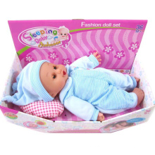 "12"" Stuff Body Sleeping Baby Doll with Sounds"