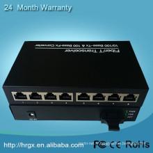 Système de réseau optique convertisseur de médias 100M 1000M poe convertisseur de médias 1 fibre +8 ethernet rj45 port