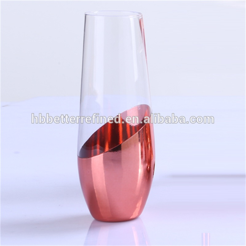 Hand Blown 8oz Stemless Flutes Champagne Glass0