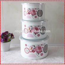 belo decalque tigela personalizado esmalte conjunto tigela de gelo