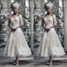 2014 Stilvolle Spitze A-Linie Hochzeitskleid Off-Schulter Halbe Hülse Tee-Länge Kurzes Brautkleid mit Applique nach Maß NB0763