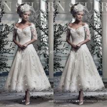 2014 Elegante Lace A-Line Vestido de casamento Off-Shoulder Meia manga Tea-Length Vestido de noiva curto com Applique Custom Made NB0763