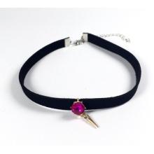 Velours Rose crème glacée avec collier en rubis large accessoires mode bijoux