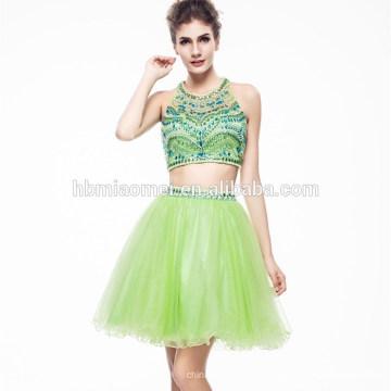 2017 señoras hermoso color verde con cuentas Hsexu espalda abierta vestido de noche