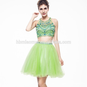 2017 Ladies Beautiful Green Color Beaded Hsexu Back Open Evening Dress