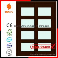 2014 Hot Sale Intérieur verre porte coulissante en bois avec certificat