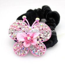 Розовый бабочка орнамент для волос клип с черной резинкой