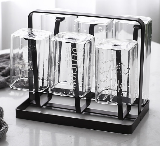 Square transparent glass cup