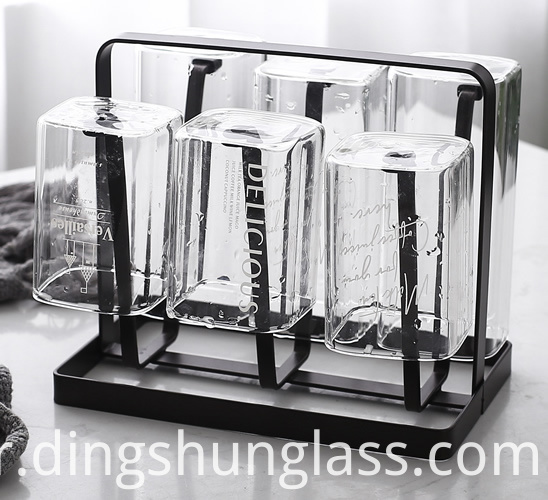 Square transparent glass cup