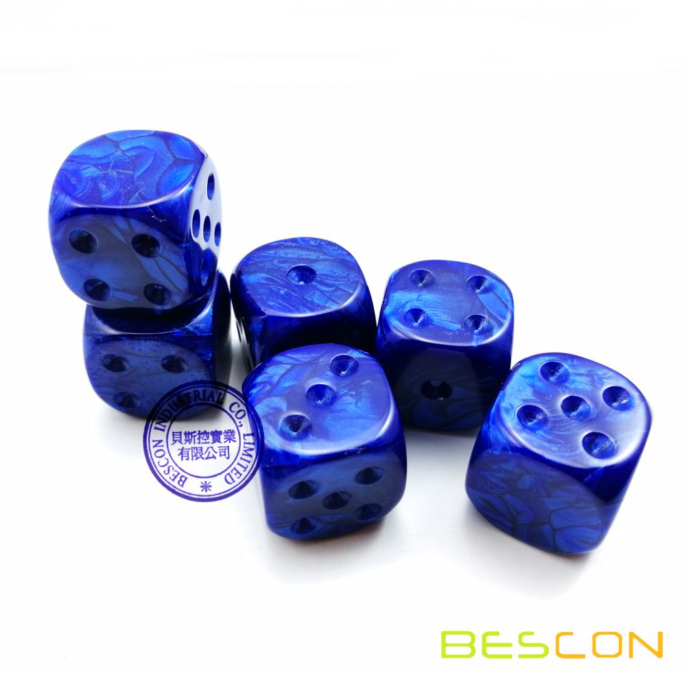 Bescon Raw Unpainted Marble 16MM D6 Game Dice with Blank 6th Side, 3 Assorted Color Set of 18pcs, Blank Marble Cube