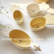Cerâmica pintado à mão conjunto de 4 copos de medição de forma de pássaros