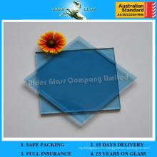 Classe réfléchissante colorée de 3 à 12 mm et verre transparent bleu clair avec AS / NZS2208: 1996