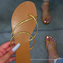 Hot sale new summer shoes Fashion girl gold strappy flip flops summer women sandals 2021 fashion comfortable cheap
