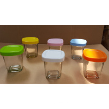 Frasco de vidro de pudim de vidro com tampas de cor diferente