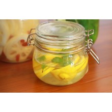 Glass Food Jar with Airtight Clamp and Glass Lid