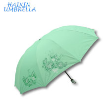 OEM ODM Steel Frame Big Size 28 Inch Custom Logo 3 Fold Hand Sun Protection Green Umbrella With Silver Coating for Women