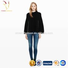 Womens Winter Cashmere stricken Ponchos mit Reißverschluss Großhandel