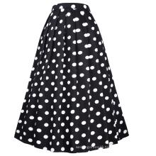 Belle Poque Vintage Retro Elastic Waist Cotton A-Line Swing Floral Print Long Skirt BP000324-2