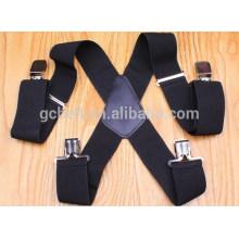 Mens black elastic suspenders belt in 5CM width
