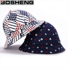 Cotton Twill Bucket Hat with Poker Pattern Print