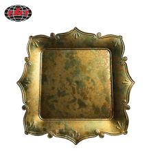 European Style Square Antique Gold Plastic Tray
