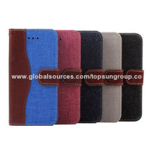 High-quality Denim + PU Flip Cases for iPhone 6 with Card Slots and Hanging Rope