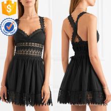 Vestido de verano de algodón de encaje sin mangas mini vestido negro para la fabricación de la muchacha atractiva Ropa de mujer de la manera al por mayor (TA0295D)