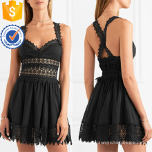 Crocheted Lace Cotton Sleeveless Black Mini Summer Dress For Sexy Girl Manufacture Wholesale Fashion Women Apparel (TA0295D)