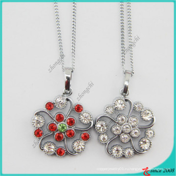 Мода Хрустальный цветок очарование Кулон ожерелье (Пн)