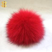 La bola superior en las gorras del invierno venden al por mayor el llavero auténtico verdadero de la bola de la piel de Fox o los botones que teñen la piel de zorro Pom Poms