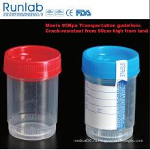 Контейнер для образцов для анализа мочи на 90 мл, зарегистрированный FDA и маркированный CE