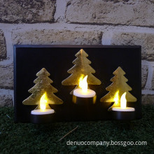 Christmas Tree Black and Gold LED Metal Tea-Light Holder