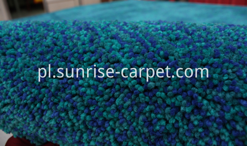 Elastic Polyester Shaggy Rug Blue mix color