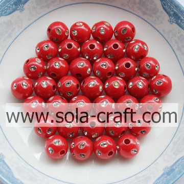 Beautiful Acrylic Red Color Disco Dot Beads For Necklace 5MM