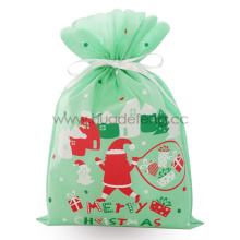 Light Green Non-woven Christmas Santa Drawstring Gift Bag