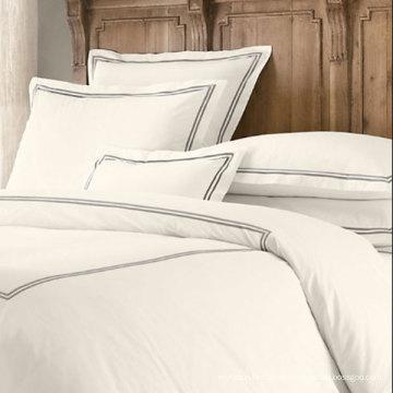 100% Algodón egipcio 600tc Algodón Percale Crisp Ropa de cama blanca (DPFB8087)
