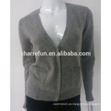 2015 clásico estilo profundo cuello en V 100% puro suéter de cachemira de las mujeres