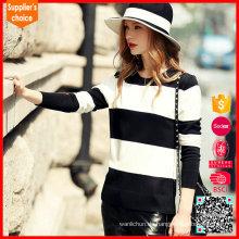 Neueste Design lange Ärmel breite weiße schwarze Frauen gestrickt gestreiften Pullover
