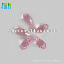 Perles de cristal à facettes larme Vintage Lacrima AB Rose 8mm * 13mm