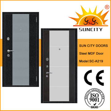 2016 Новый МДФ внутри стальные деревянные двери для входа (СК-A219)