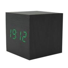 LED Reloj Electrónico de Madera Cuadrado, Cambio de Reloj Digital de Colores