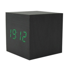 LED Square Wood Electronic Clock, Colors Changing Digital Clock