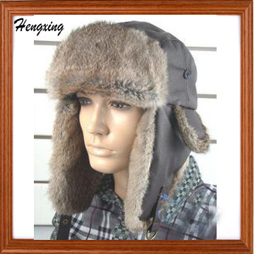 Winter Natural Rebbit Fur Hats with Earflaps